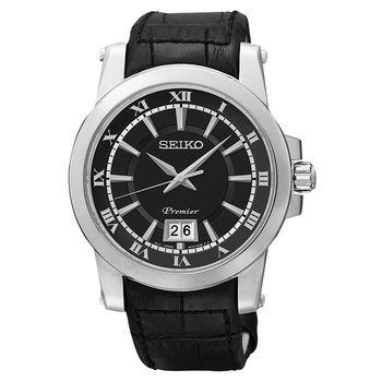 SEIKO Premier 羅馬主義大視窗時尚皮帶腕錶-黑/40mm 6N76-00B0A(SUR015J2)