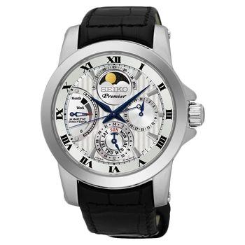 SEIKO Premier 互動式人動電能月相腕錶-銀/41mm 5D88-0AG0P(SRX011J2)