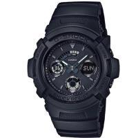 G-SHOCK 黑色控神秘弧形極速先鋒運動雙顯錶 AW-591BB-1A