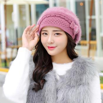【幸福揚邑】保暖加絨護耳防風針織貝蕾帽蝴蝶結兔毛帽-粉紫