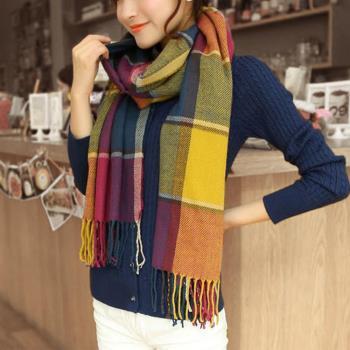 【幸福揚邑】百搭情侶羊絨質感格紋保暖圍巾/披肩-彩色粗格