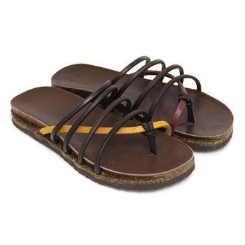 【GREEN PHOENIX】撞色壓花紋線條全真皮夾腳平底拖鞋(男鞋)-棕色、黃色