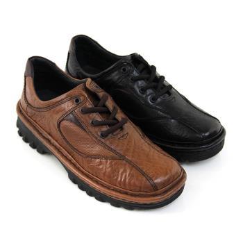 【GREEN PHOENIX】自在舒適簡單線條手縫綁帶全真皮氣墊休閒皮鞋(男鞋)-黑色、咖啡色