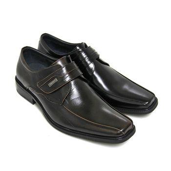 【GREEN PHOENIX】金屬裝飾簡單線條沾黏式全真皮方頭皮鞋(男鞋)-古銅色、黑色