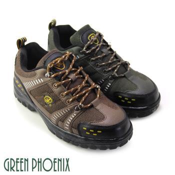 【GREEN PHOENIX】台灣製個性雙色綁帶安全鋼頭工作鞋(男鞋)-咖啡色、綠色
