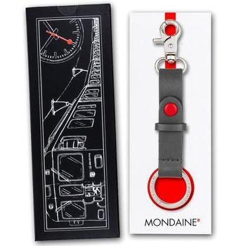 MONDAINE 瑞士國鐵牛皮雙釦環鑰匙圈-灰