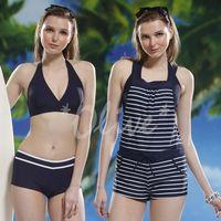 【泳之美】經典條紋款時尚三件式連身褲泳裝 NO.8109