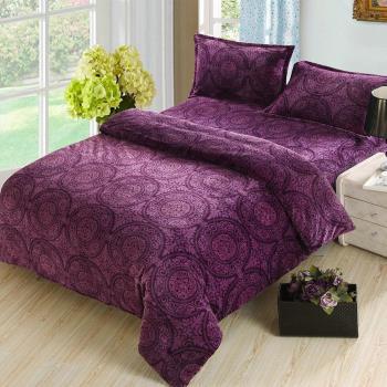 顶级法兰绒双人床包被套冬包四件套 紫色宫廷风