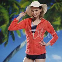 【泳之美】長袖亮眼素雅款連帽外罩衫 NO.125