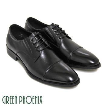 GREEN PHOENIX 沉穩質感極簡線條綁帶全真皮尖頭皮鞋(男鞋)T63-15315
