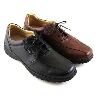 【GREEN PHOENIX】自然品味綁帶真皮氣墊休閒皮鞋(男鞋)-黑色、深咖啡