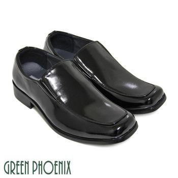 【GREEN PHOENIX】直套式方頭漆皮核心氣墊低跟學生鞋(男鞋)-黑色