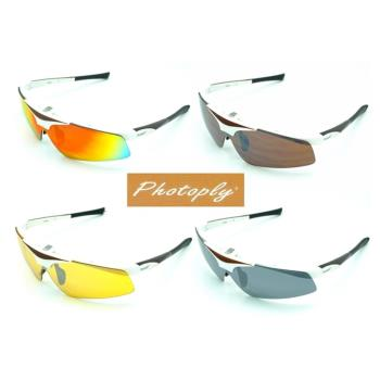 台灣品牌Photoply鏡片寶麗來可掀式大聯盟眼鏡MLB太陽眼鏡 (白色鏡框)