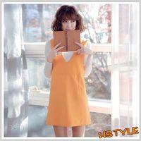 連身裙 V領口袋性感無袖洋裝JT6306-創翊韓都
