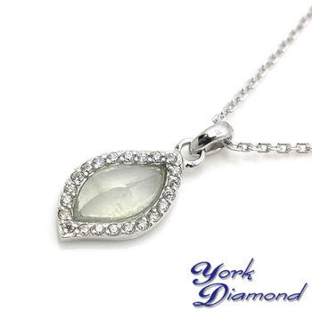 【約克鑽石】珍藏水形翡翠晶鑽純銀包銠金項鍊