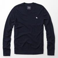 A  F 2017男時尚小麋鹿羊毛混紡寶藍色V領長袖毛衣(預購)