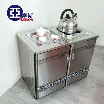 【Amos】移動式不鏽鋼套房雙茶車