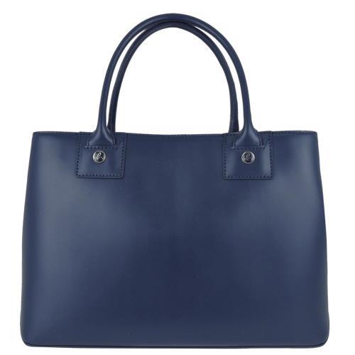 agnes b. New York方型皮革手提包(小/深藍)