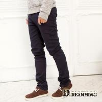 【Dreamming】韓系加厚皮標刷毛伸縮休閒長褲(共三色)