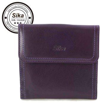 Sika義大利時尚真皮經典短夾A8288-07-木槿紫