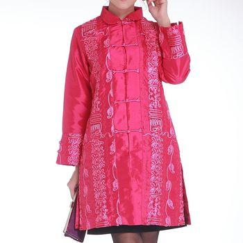 蘭陵中國風緞面刺繡長版外套 1入 100-09-11