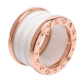 BVLGARI 寶格麗 B.zero1 18K玫瑰金白色陶瓷四環戒環(白 #45)