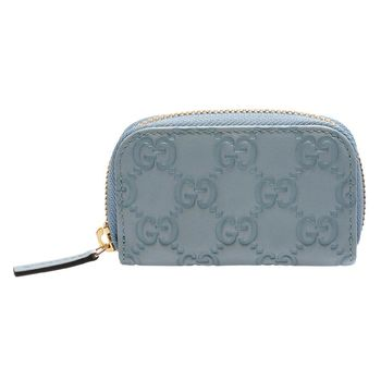 GUCCI 經典Guccissima GG壓紋牛皮拉鍊零錢包(水藍)