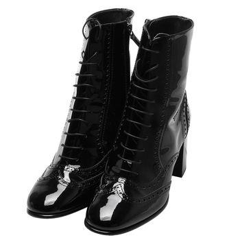 CHANEL 經典雙C LOGO漆皮造型粗跟中筒高跟靴(黑_38號)