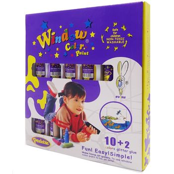 【BabyTiger虎兒寶】愛玩色 MIT兒童無毒彩繪玻璃貼 - 盒裝組 10+2 色