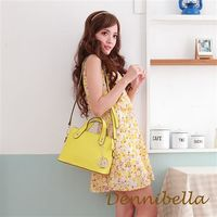 Dennibella 丹妮貝拉 -真皮斜背波士頓包-黃