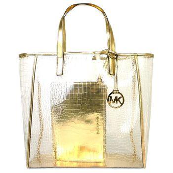 MICHAEL KORS 透明鱷魚壓紋手提包(附大手拿包)(香檳金)