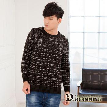 【Dreamming】冬季繽紛雪花潮流圓領針織毛衣(共三色)