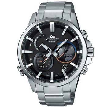 【CASIO】EDIFICE 商務智慧3D地球錶盤設計藍牙錶 EQB-600D-1A