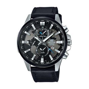 EDIFICE 俐落帥氣世界地圖錶盤設計皮帶腕錶 EFR-303L-1A