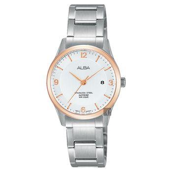 ALBA 時尚東京石英女錶-銀x玫塊金框/28mm VJ22-X243KS(AH7M20X1)