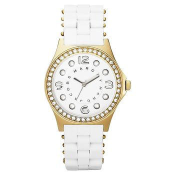 Marc Jacobs 純愛點點晶鑽時尚腕錶-白/36mm MBM2534
