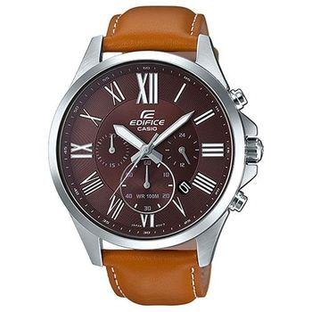【CASIO】EDIFICE 高檔經典三眼羅馬真皮指針腕錶 EFV-500L-5A