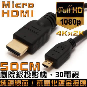 K-Line Micro HDMI to HDMI 1.4版 影音傳輸線 50CM