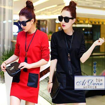 【A1 Darin】韓版加厚寬鬆皮革拼接顯瘦洋裝上衣(M/L/XL/XXL現貨熱銷中)