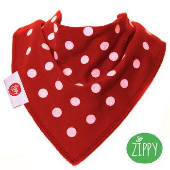 英國Zippy-幼兒時尚口水巾-圓點紅