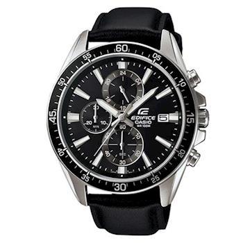 【CASIO】EDIFICE 賽車錶款系列時尚夜光真皮指針腕錶 EFR-546L-1A