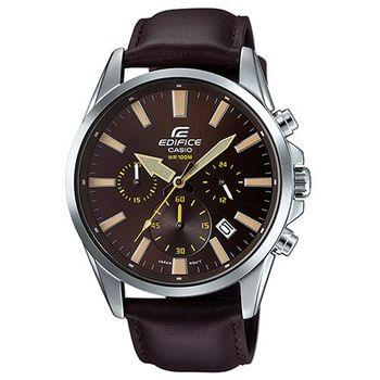【CASIO】EDIFICE 高科技賽車全新時尚三眼真皮指針腕錶 EFV-510L-5A