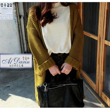 【A1 Darin】韓版寬鬆粗針織毛衣長外套