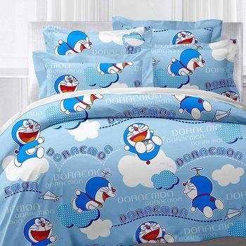 【享夢城堡】哆啦A夢 飛飛樂系列-精梳棉雙人床包兩用被組