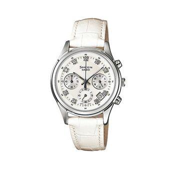 【CASIO】SHEEN 經典質感優雅大方真皮指針錶 SHE-5023L-7A