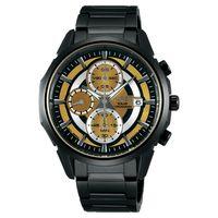 WIRED SOLAR 限量潮流玩家太陽能計時腕錶-金x黑/42mm V176-0AK0SD(AY9007X1)