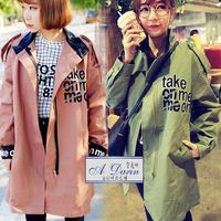 【A1 Darin】正韓最新學院風連帽長版風衣外套