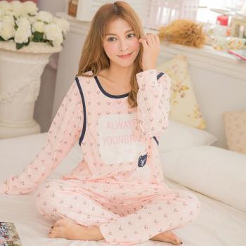 【lingling日系】全尺碼-日系小熊側開口棉哺乳孕婦居家長袖二件式睡衣組(輕柔橘)A3140