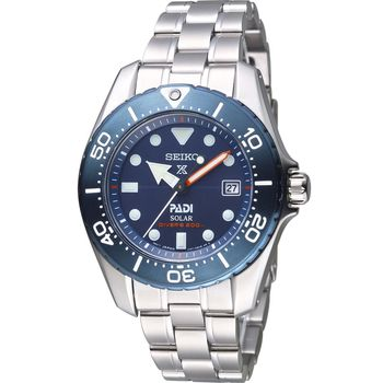 SEIKO PROSPEX PADI 限量聯名款太陽能鈦金屬腕錶 V147-0BD0B 藍 SBDN035J