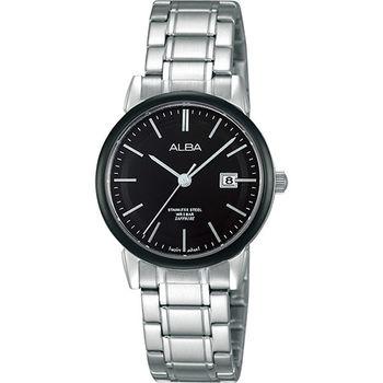 ALBA Lady 日系輕盈美學時尚腕錶-黑/28mm VJ22-X177D(AH7E67X1)